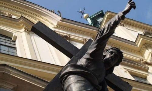 Warsaw cardinal laments 'desecration' of Christ statue with rainbow flag